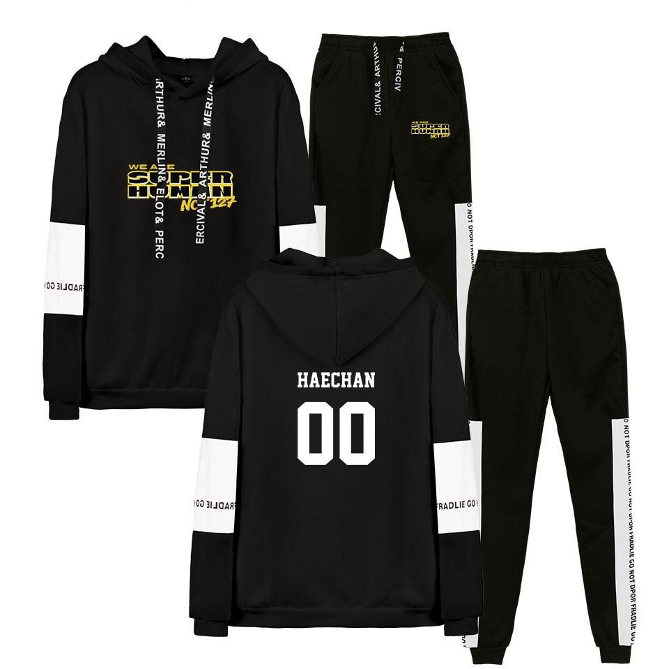 NCT 127 New WE ARE SUPERHUMAN Design Hoodie Men Hoodie Sweatshirt Black Men's Suit Long Sleeve Sweatshirt Hoodie Men Set