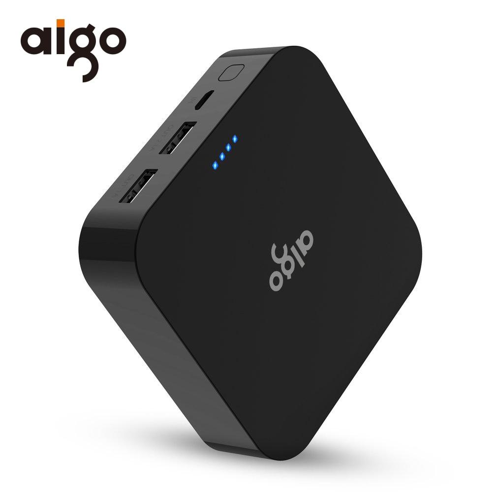 Aigo Power Bank 10000mAh Dual USB Fast Charger Mobile Phone Portable External Battery Powerbank for iphone se samsung galaxy s8