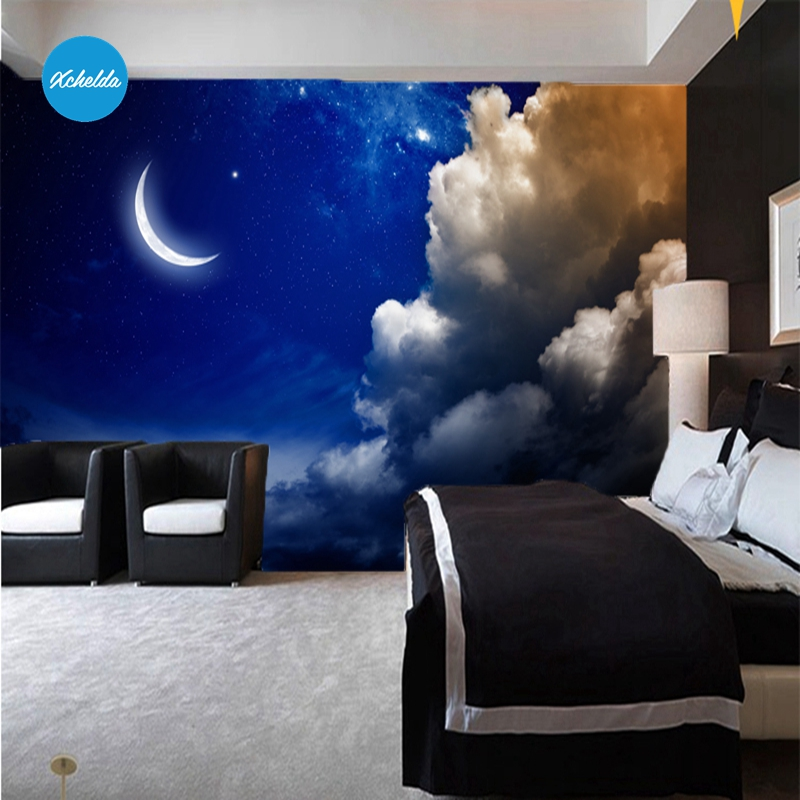 XCHELDA Custom 3D Wallpaper Design Moon Light Photo Kitchen Bedroom Living Room Wall Murals Papel De Parede Para Quarto kalameng custom 3d wallpaper design street flower photo kitchen bedroom living room wall murals papel de parede para quarto