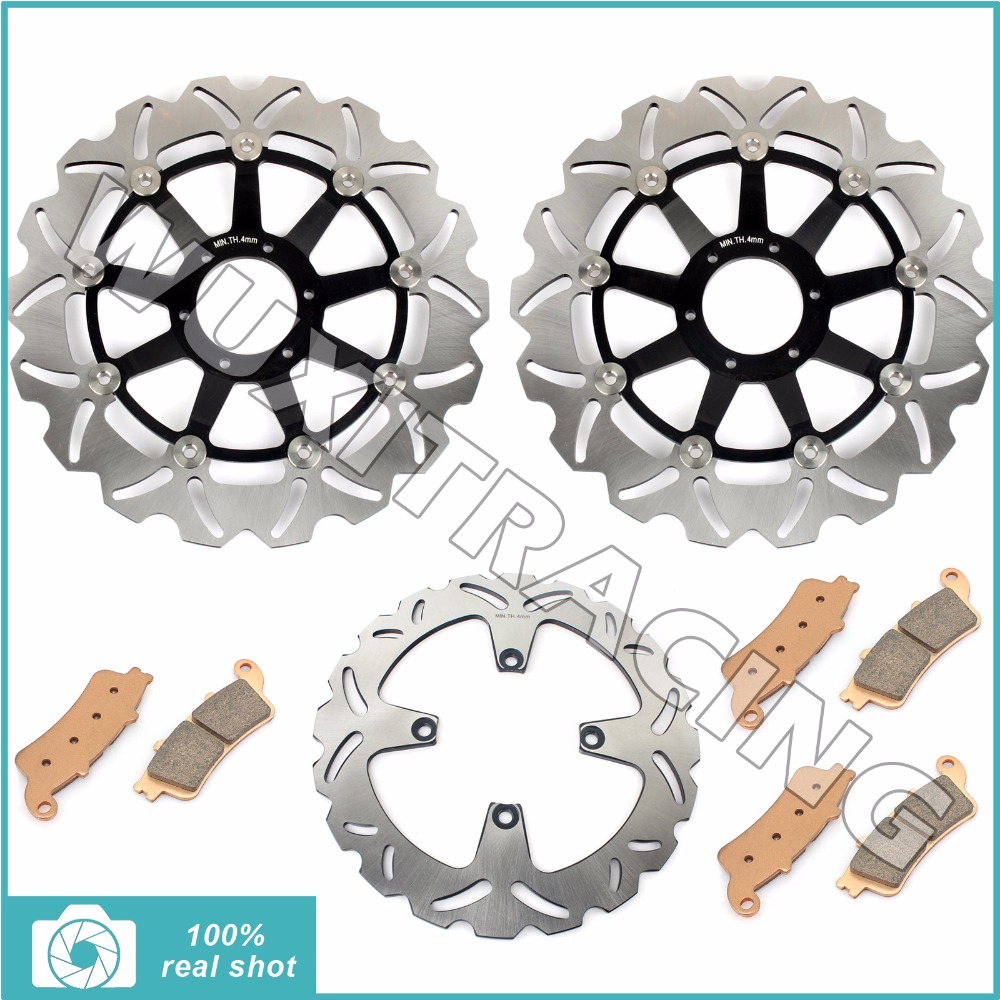 296mm Motorcycle New Full Set Front Rear Brake Discs Rotors Sintered Pads for Honda VFR 800 Fi Interceptor 1998-2001 1999 2000 motorcycle brake pads ceramic composite for triumph 800 tiger 2011 2014 front rear oem new high quality zpmoto