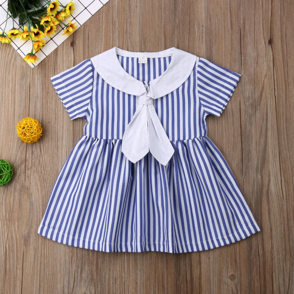 Одежда для маленьких девочек платье в полоску с короткими рукавами и галстуком вечерние сарафаны принцессы От 0 до 6 лет