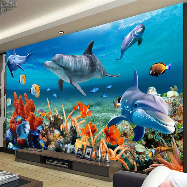 Study Room With Aquarium: Beibehang Custom 3D Wallpaper Underwater Dolphin Fish