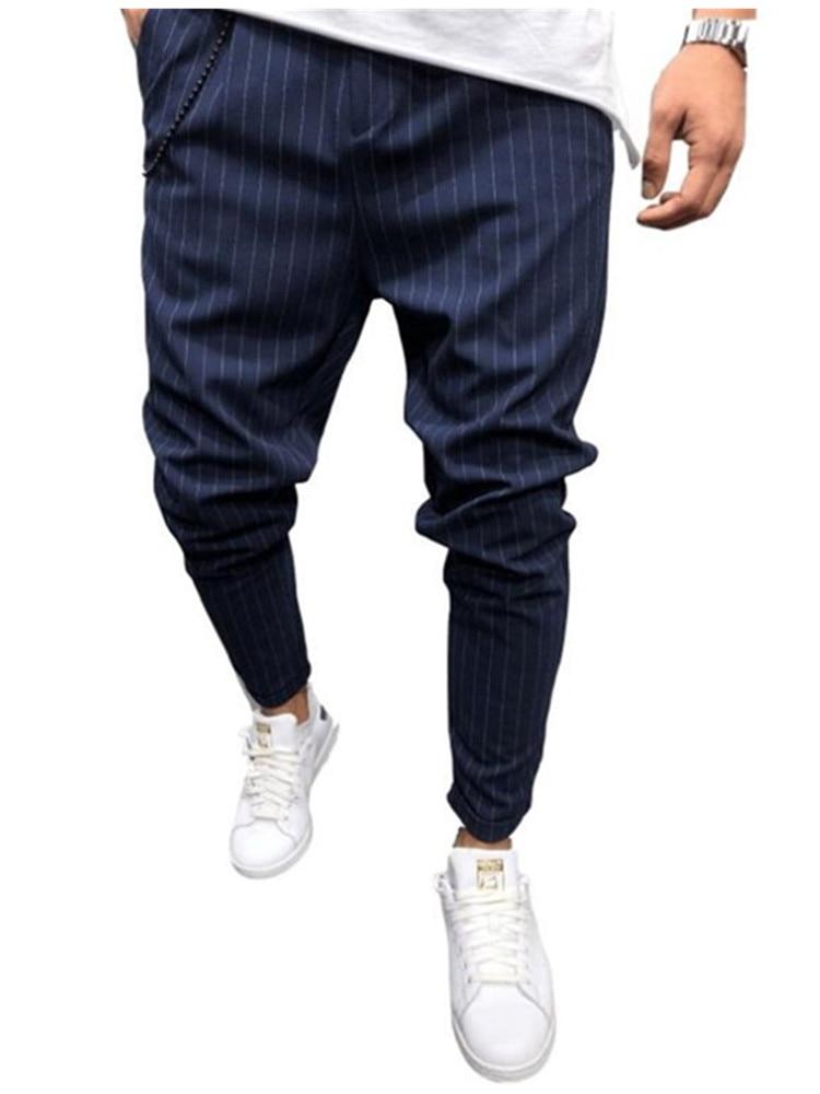 New Twill Men's Jogging Pants 2019 Men's Jogging Pants Solid Multi-bag Jogging Pants Striped Casual Hip-hop Pants