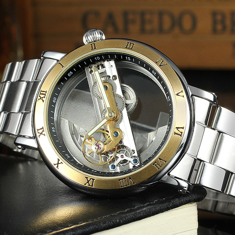 FORSINING Men Watches Skeleton Luxury Brand Hollow Out Male Mechanical Watch Movement Automatic Wristwatch Stainless Steel Clock for yamaha mt 03 2015 2016 mt 25 2015 2016 mobile phone navigation bracket page 1