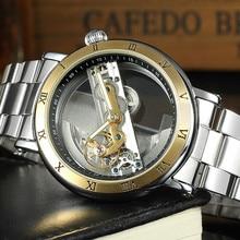c1cf27e2403 FORSINING Homens Relógios Esqueleto Marca de Luxo Escavar Masculino  Movimento de Relógio Mecânico Automático Relógio de Pulso de.