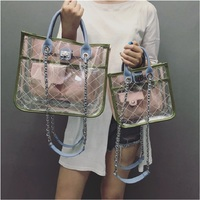 Razaly brand high quality crossbody pvc bucket bag summer beach big tote designer clear handbags transparent silver chain 2019
