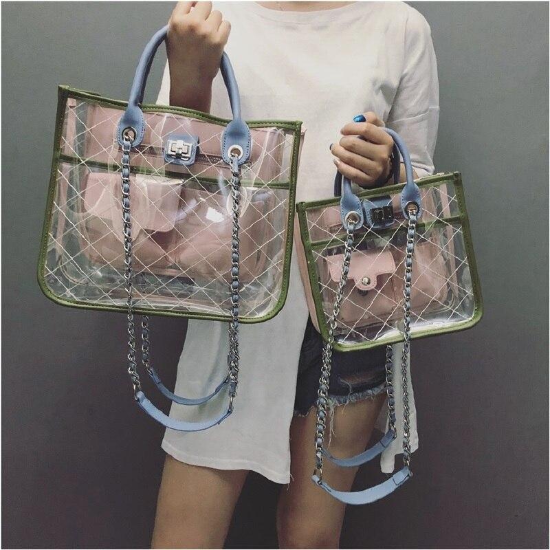 Razaly marque haute qualité bandoulière pvc seau sac été plage grand fourre-tout designer clair sacs à main transparent argent chaîne 2019