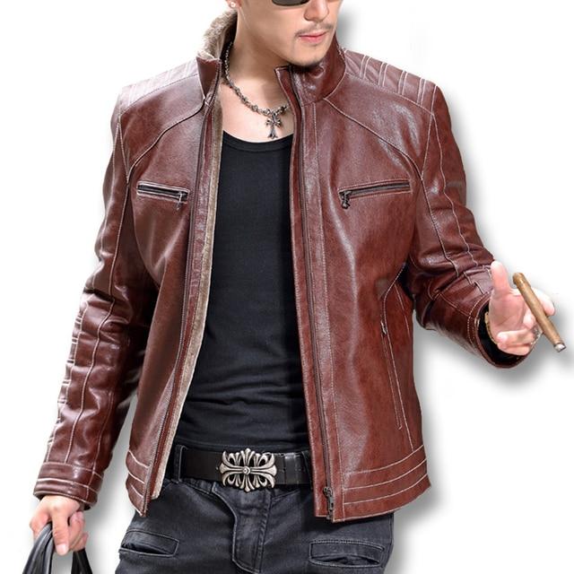 2016 Jaqueta Де Couro Masculina Куртки Пальто Giacca Uomo Pelle мужская Повседневная Мода Slim Fit Мотоцикл Кожаной Куртки М-4XL