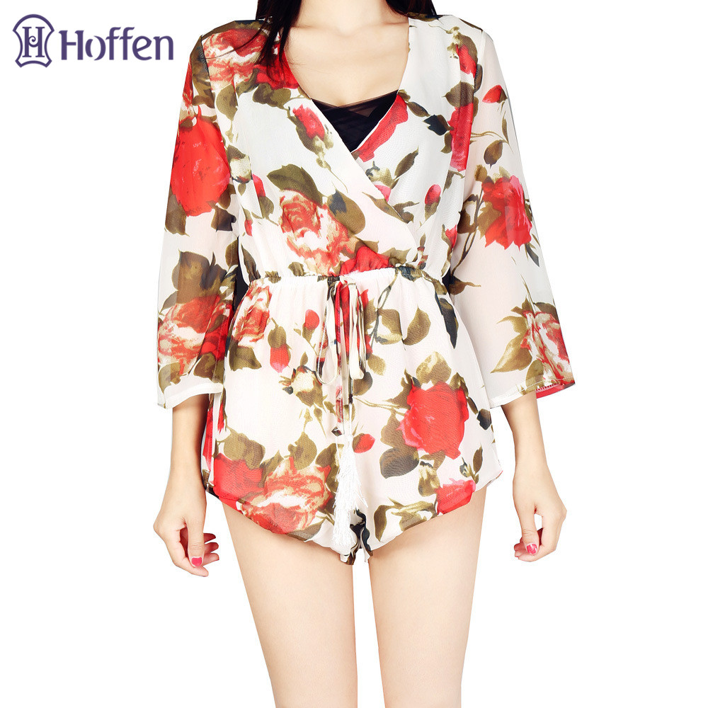 Hoffen Hot Sale Damen Blumenspielanzug V-Ausschnitt Hohe Taille - Damenbekleidung - Foto 2