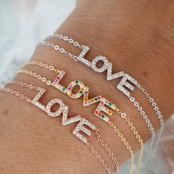 rainbow letter bracelet for girlfriend gift high quality factory design valentines gift Gold color cz bracelet