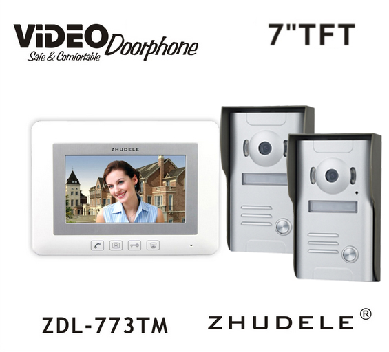 ZHUDELE New Style Doorbell Intercom System 7 Video Door Phone Touch button Kits Night Vision 700TVL HD Home House Security 2V1