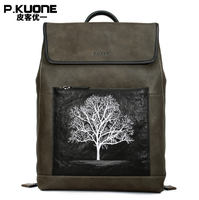 P.KUONE New Embroidery Backpack Large Capacity Backpack Men's Genuine Leather Travel Bag Cowhide Can Put 14 Inch Laptop Bag