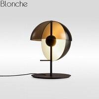Современный полукруг Стекло настольная лампа Nordic светодио дный стоял Рабочий стол свет Спальня исследование чтение Home Decor офис стенд освет