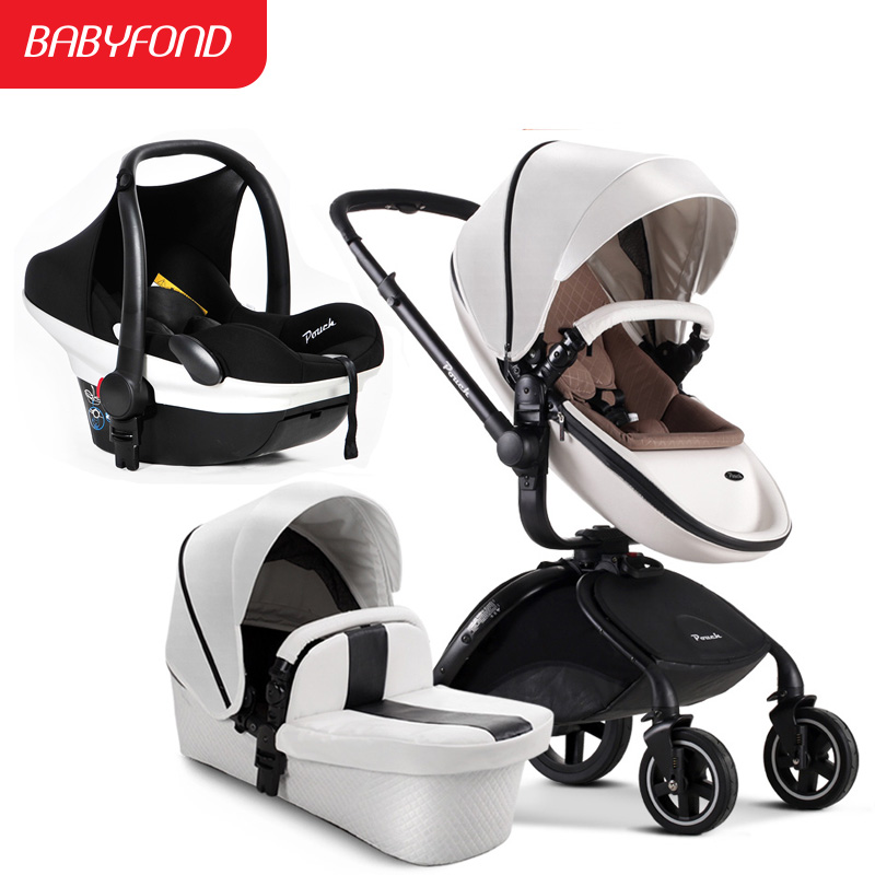 Russia warehouse direct ship! pouch Baby Stroller Suspension Folding Child Leather Fabric 3 In 1baby stroller 2 in 1 baby car 2017 top fashion direct selling dsland pouch luxury cast aluminum 9 9kg big baby stroller suspension folding bb car child