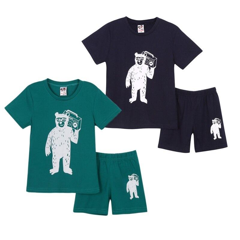 Cute Boy Girl Baby 2pcs Set Short Sleeve Cartoon Print Printed Cotton Set Comfortable Casual Party Travel Set
