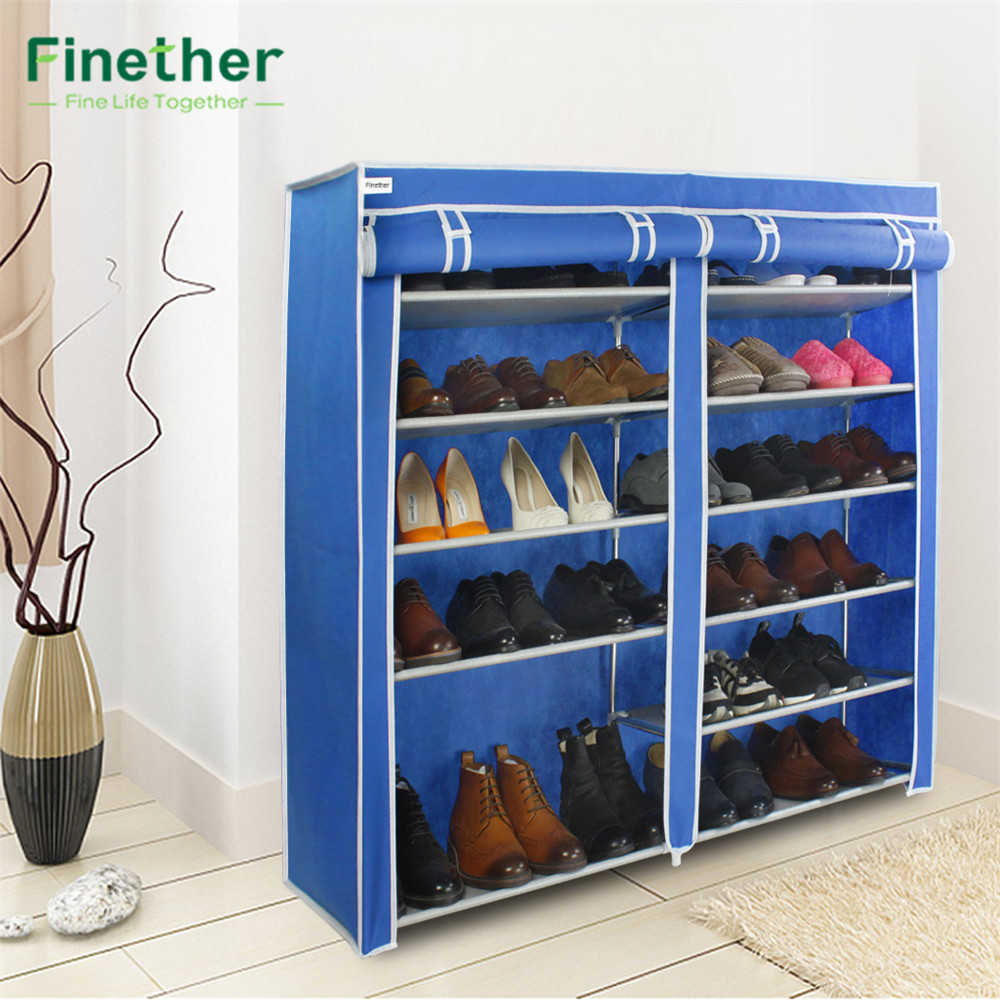 Finether Double Non Woven Fabric Shoe Rack Canvas Shoes