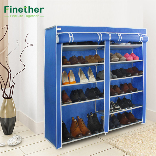 Finether Double Non Woven Fabric Shoe Rack Canvas Shoes Storage Organizer  Organization Wardrobe Cabinets Storage