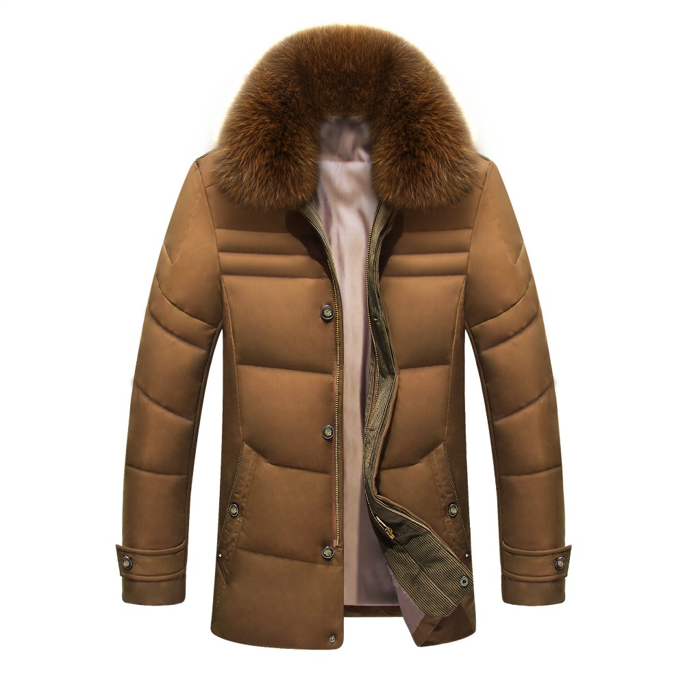 2018 Winter Jacket Men Solid High Quality Jackets Mens White Duck   Down     Coat   Parkas With Real Fox Fur Hood