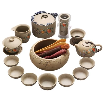 Chinese style Gift Kung Fu Tea Stoneware Tea Set Home Office Simple Small Cup Modern Teapot Set 6 Pack Living Room in Teaware Sets from Home Garden