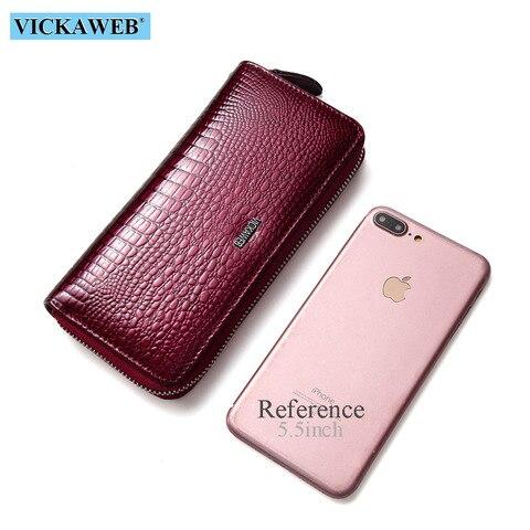 VICKAWEB Wristlet Wallet Purse Genuine Leather Wallet Female Long Zipper Women Wallets Card Holder Clutch Ladies Wallets AE38 Multan