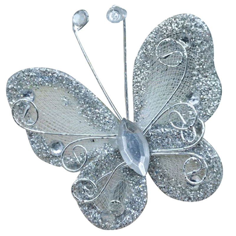 10Pcs Mixed Organza Wire Rhinestone Butterfly Wedding Decorations For  Scrapbook Home Decor Party Accessories Silver