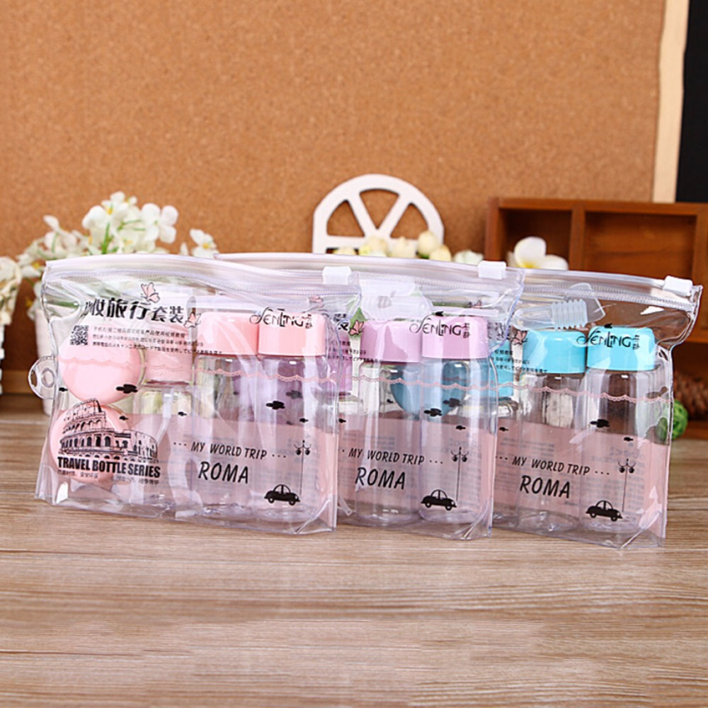 7 PCS/set Travel Cosmetic Empty Jar Pot Makeup Face Cream Container Bottle 3 Colors Drop Shipping