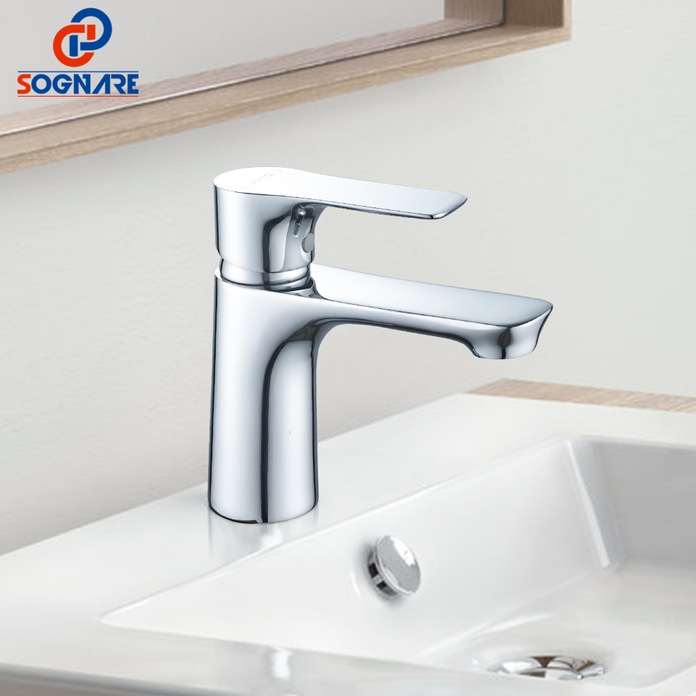 цена на SOGNARE Chrome Brass Bathroom Faucet Sanitary Ware Cold and Hot Touch Faucet Basin Mixer Single Handle Mixer Tap Faucet D1115