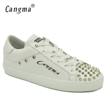 Female Shoes Flats Sneakers Women White Woman's Trainers Lace-Up Genuine-Leather Famous