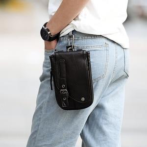 2019 NEW Genuine Leather Vintage Waist Packs Men Travel Fanny Pack Belt Loops Hip Bum Bag Waist Bag Mobile Phone Pouch
