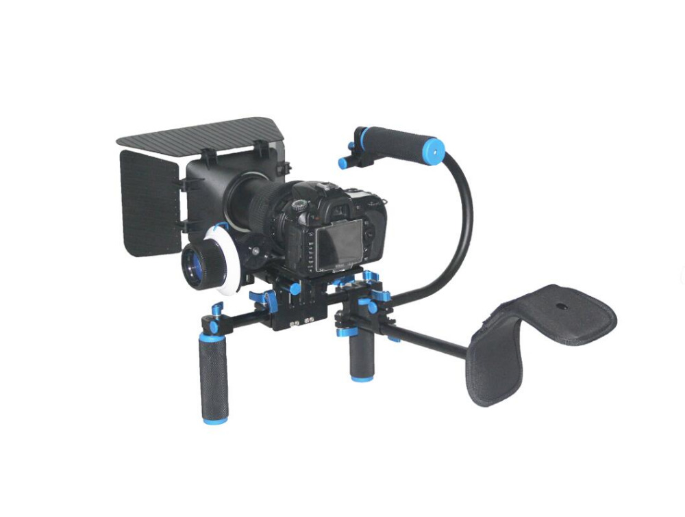 DSLR Video Camera Support System Camera Shoulder Stabilizer Shoulder Mount+Matte Box+Follow Focus+C -Shaped Support Bracket yelangu professional handheld shoulder mount dslr video camera stabilizer support system kit matte box follow focus c shape tubo