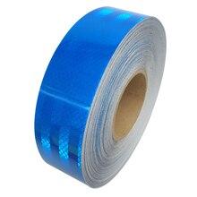 5 см * 45 м светоотражающие ленты безопасности Предупреждение знак тела наклейки ПЭТ голубой решетки полоски клей износостойкий водонепроницаемый