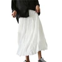 Mode Geplooide Losse Rokken Vrouwen Elastische Hoge Taille Grote Swing Katoen Rok Dubbellaags Lange Casual Linnen Rokken RE0621