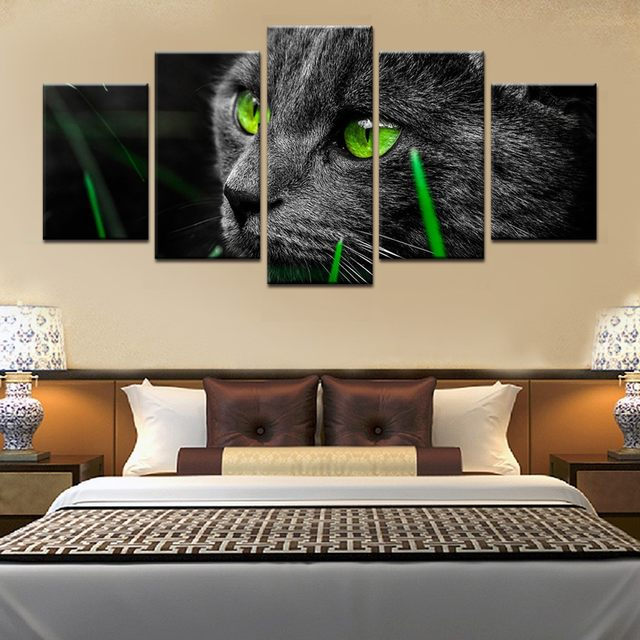 5 Pieces Animal Green Eyes Black Cat Wall Art Picture Home Decoration  Living Room Canvas Print Wall Picture Printing On Canvas