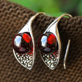 Edelweiss series 925 pure silver thai silver garnet delicate vintage earrings handmade