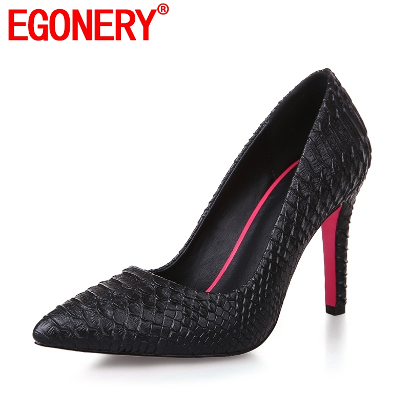 EGONERY fashion skin pattern pumps high heels good quality spring summer pointed toe party sexy shoes elegant Snake women shoes