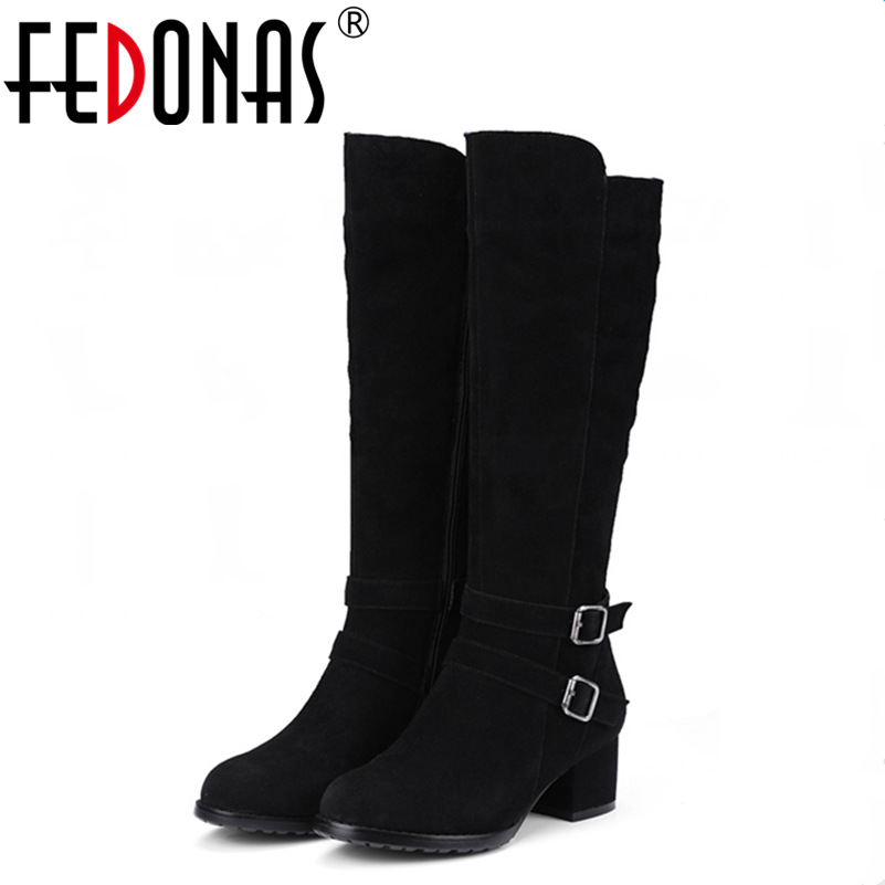 FEDONAS Fashion Women Knee-high Motorcycle Winter Warm Snow Boots Women Genuine Leather All-match Med-heel Ladies Shoes Woman fedonas top quality winter ankle boots women platform high heels genuine leather shoes woman warm plush snow motorcycle boots