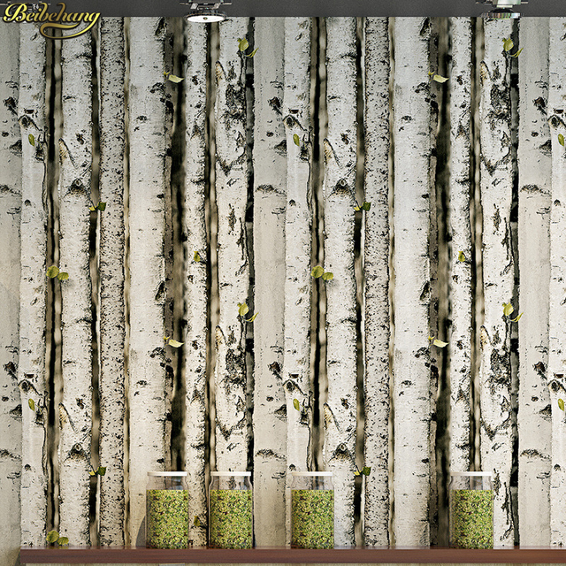 Fresh beibehang 3D birch forest tree bark tree pattern wood wallpaper  GT71