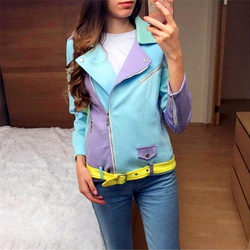 Taotrees Color Block   Basic     Jacket   Hit Color Patched Pocket Women Coat Zipper Cardigan Street   Jackets