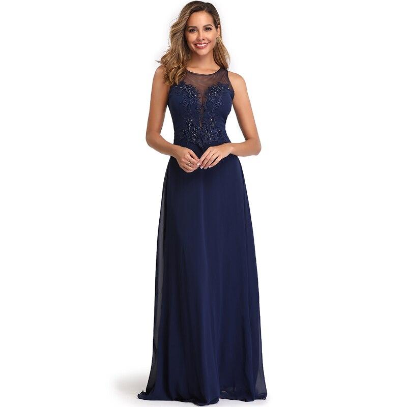 Elegant See-Through Appliques Chiffon Long Evening Dress 2