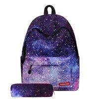 Galaxy Star Universe Space Print Women Backpack Polyester School Bags Teenage Girl Laptop Bag Mochila Schoolbag Pink Pencil Case