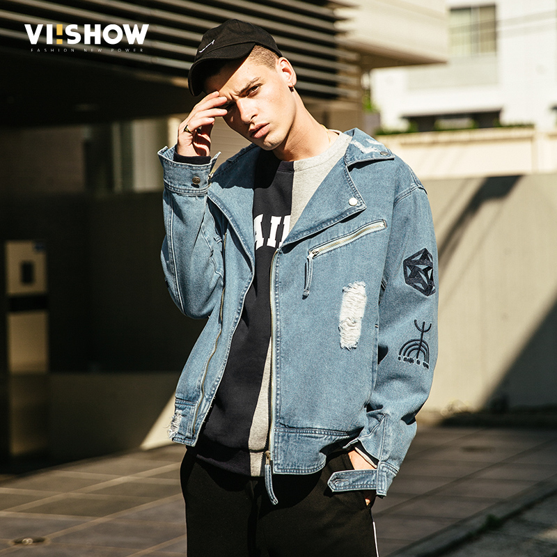 VIISHOW 2017 New Autumn Fashion Denim Jacket Men Casual Jeans Coats Outerwear Cotton Slim Fit Brand Men's Clothing JC2036173 new hole blue jeans men 2016 fashion brand clothing casual jeans male fit jean for men cotton elastic denim pants c029 page 7
