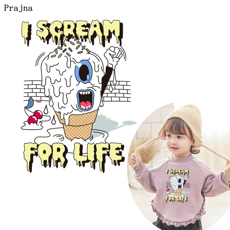 Prajna Cartoon <font><b>Patches</b></font> Scream ICE <font><b>Bus</b></font> Heat Transfer Wholesale Vinyl Sticker On Clothing DIY Kids Gifts A-level Paper Jeans Dress image