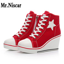 Women Wedge Sneakers 2018 Korean High Top Side Zipper Lace Up Canvas Shoes  Female Platform Height Increasing Wedges Shoes Woman cyabmoz women high heels platform shoes wedge genuine leather height increasing lace up low top party ladies shoes zapatos mujer