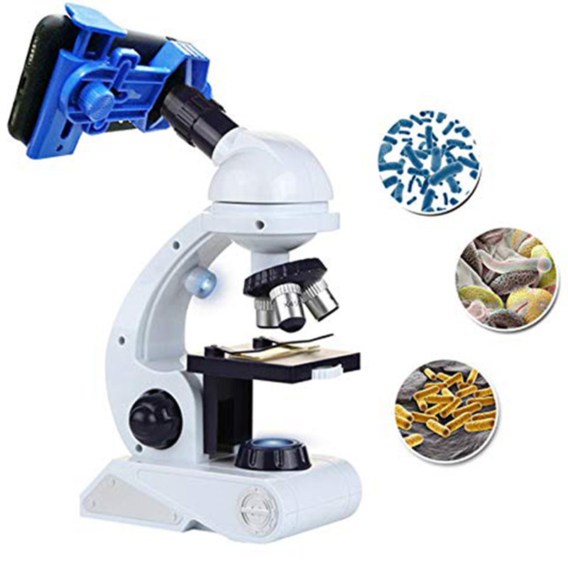 HLZS-Microscope For Kids Science Kit, Beginner's Microscope Kit Blue/White With LED 80X 200X And 450X Magnification Science To
