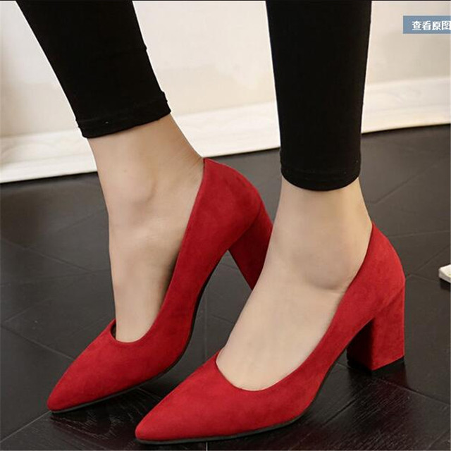Women 's shoes were thin high heels thick with the tip of a single shoe shallow mouth sets of suede shoes work shoes shoes 7cm