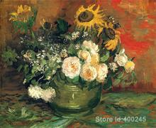 Paintings by Vincent Van Gogh Still Life with Roses and Sunflowers wall art Hand painted High quality