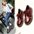 Autumn 2017 British Oxford Shoes Woman Round Toe Patent Leather Female Flats Women Lace Up Zapatos Mujer Thick Bottoms Sewing