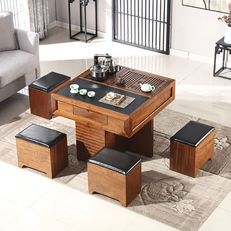 Mini Fire Stone Solid wood Tea Table With Chair Fashion Small Apartment Living Room Office Tea Table Flat Modern Tea Combination