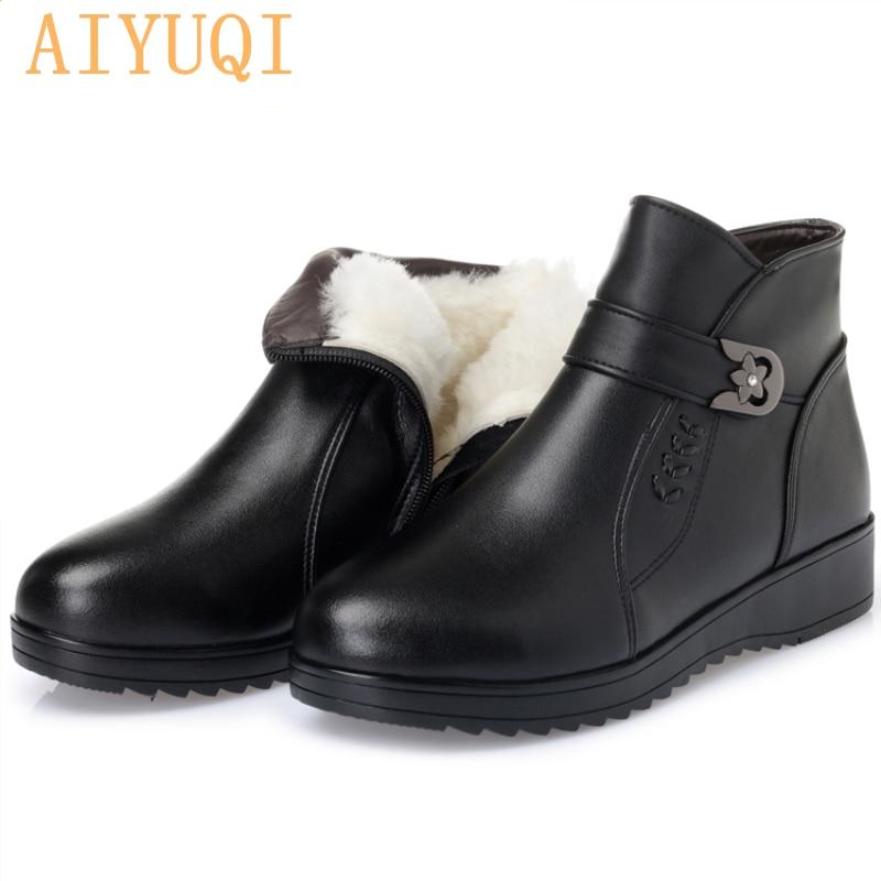 իսկական կաշվե Կանացի կոշիկներ: 2019 ձմեռային հաստ բուրդ կոճ կոշիկներով: տարեցները մեծ չափսերով 35-43 տաք կոշիկներ կանայք: անվճար առաքում