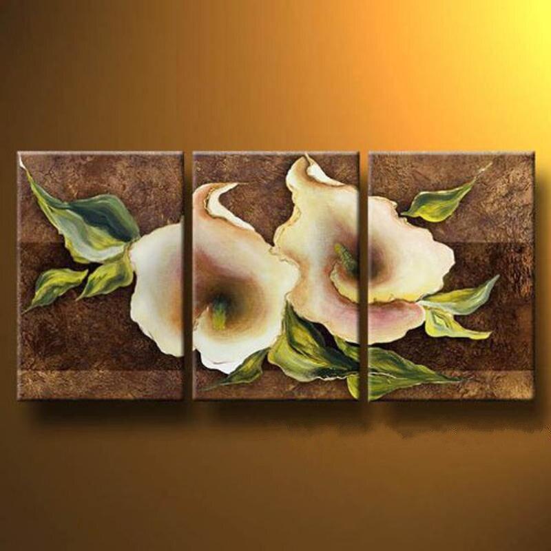 Украшение дома ручная роспись абстрактный цветок картина маслом на холсте акриловыми цветочный Картины для продажи 3 Панель стены Книги по ...